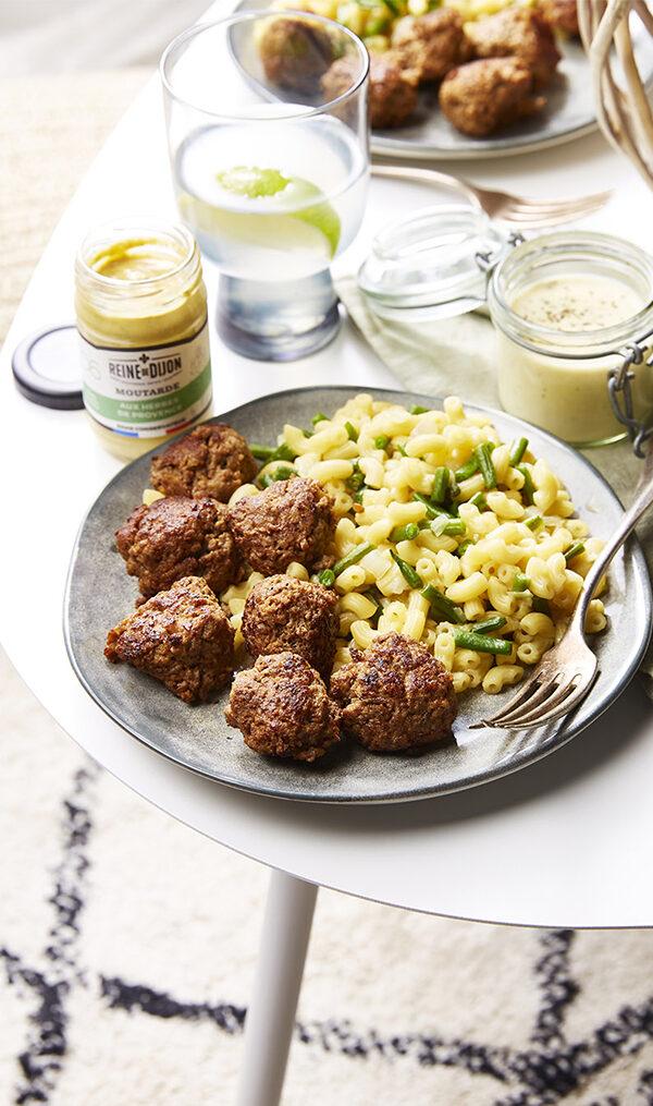Boulettes de bœuf à la moutarde et coquillettes façon risotto