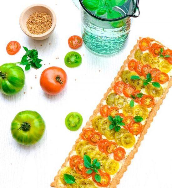 Tarte tomates, mozzarella, moutarde au piment d'Espelette