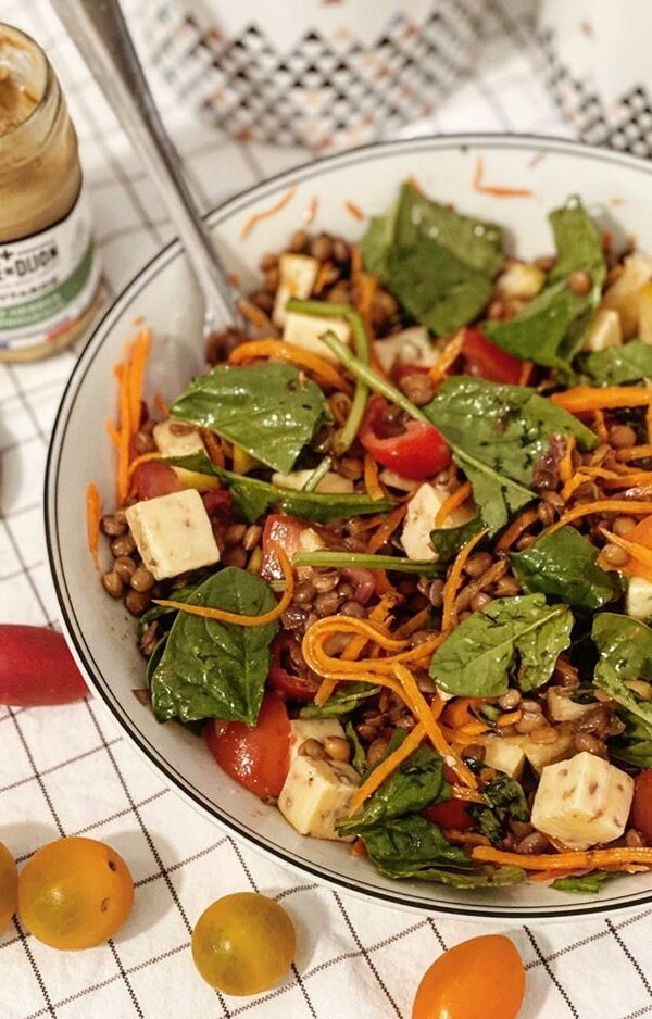 Lentil salad and mustard with Provence herbs