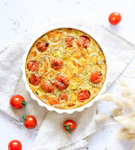 Vegetable clafoutis with wholegrain mustard