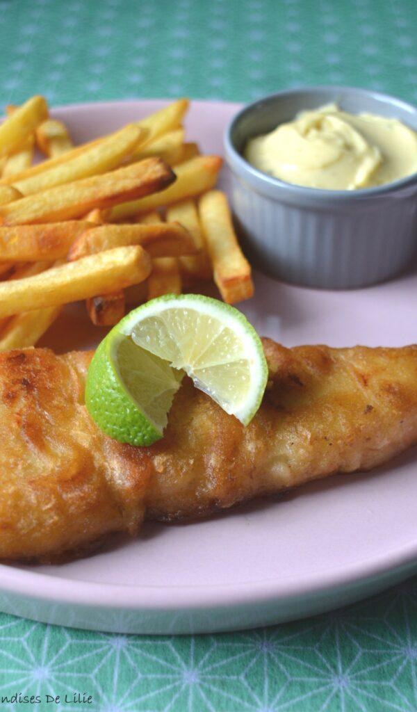 Fish & chips and homemade mayonnaise with garlic and rosemary mustard