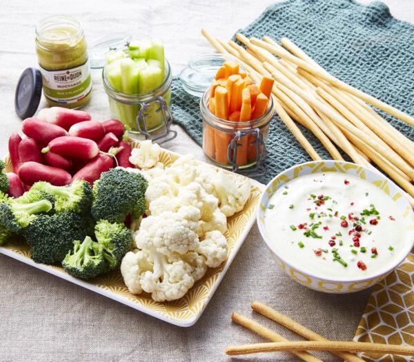 Dips de légumes et sa sauce à la moutarde aux 5 plantes