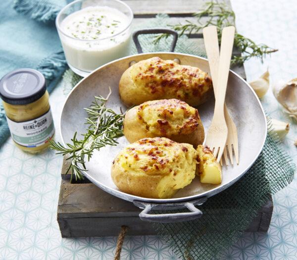 Pommes de terre gratinées à la moutarde ail romarin